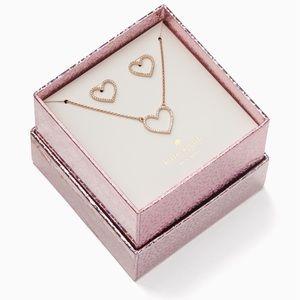 NWT❣️Kate Spade Heart♥️Pendant & Studs Boxed Set